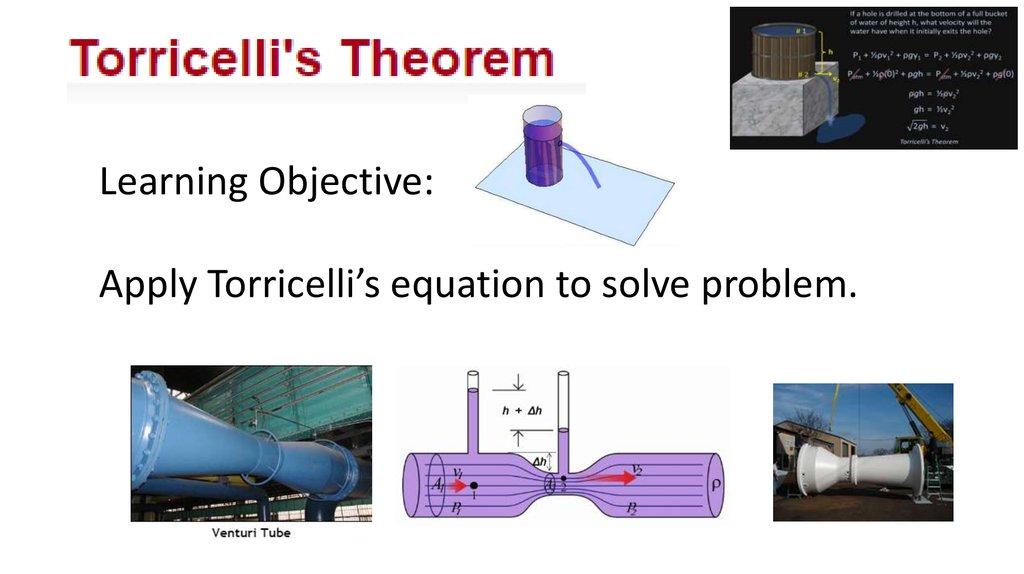 Apply Torricelli S Equation To Solve Problem Online