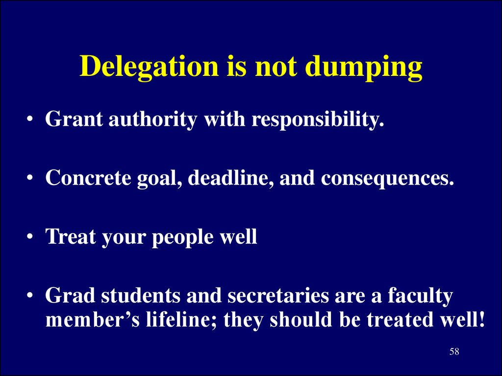 Delegation is not dumping