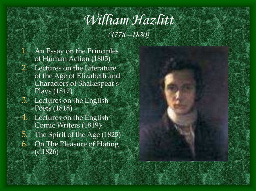 William Hazlitt (1778 –1830)