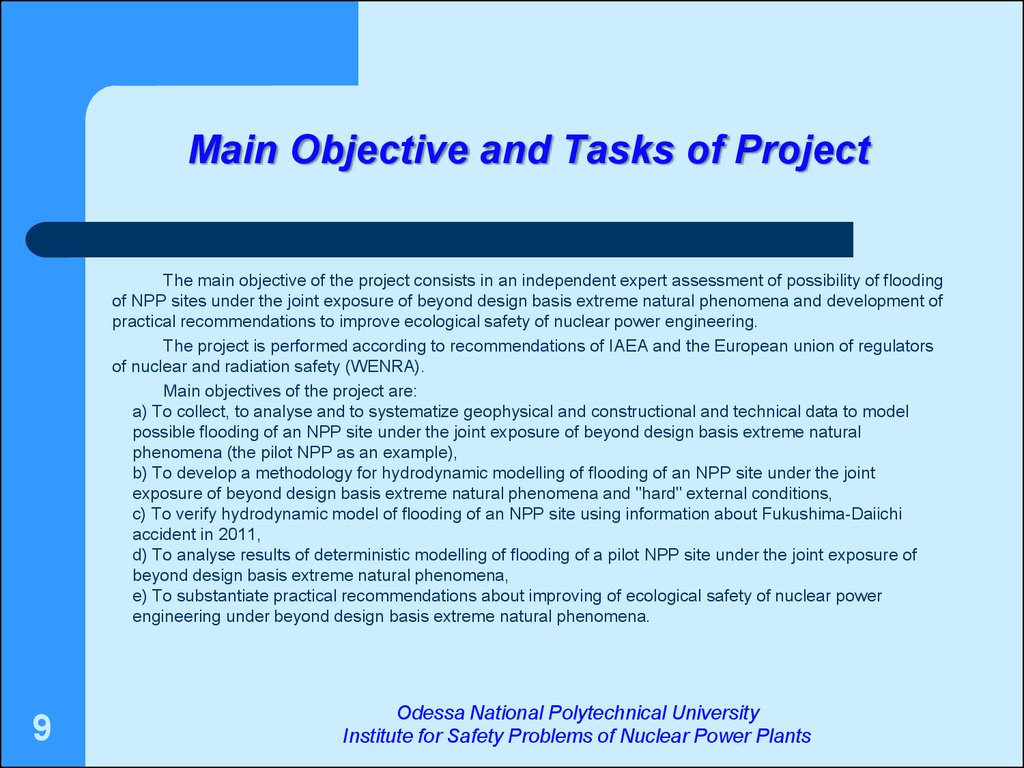 Main Objective and Tasks of Project