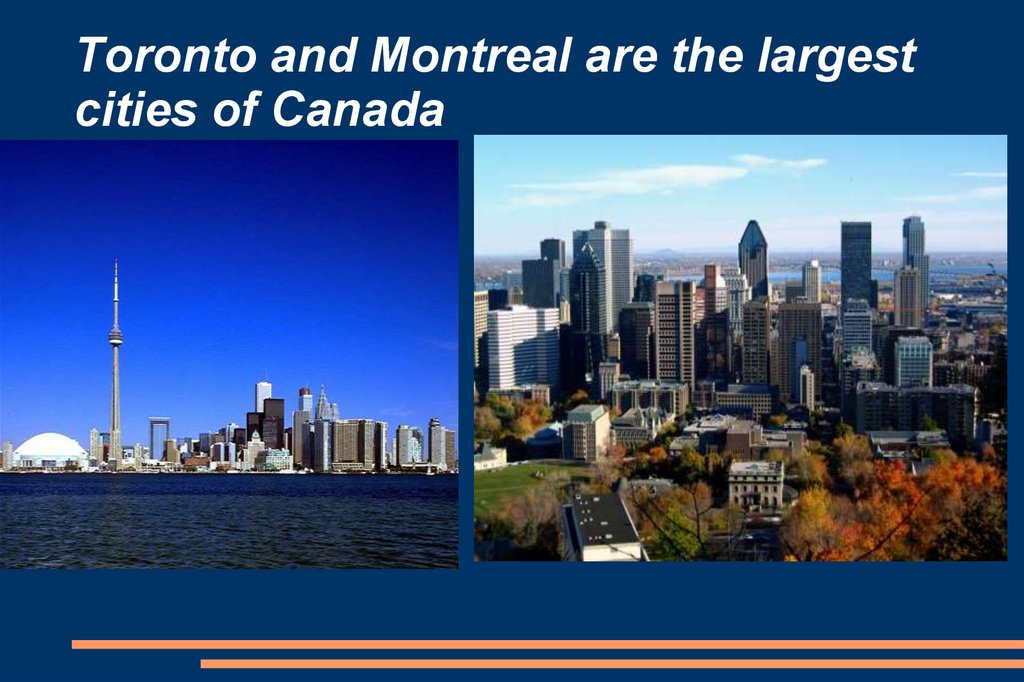 Toronto and Montreal are the largest cities of Canada