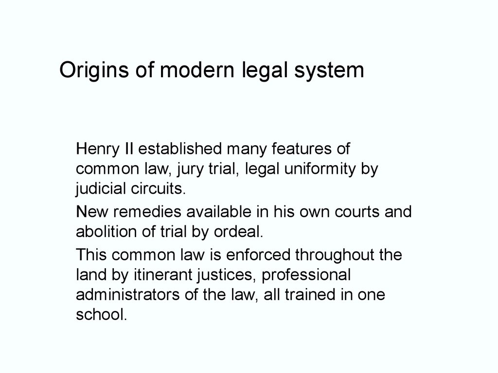Origins of modern legal system