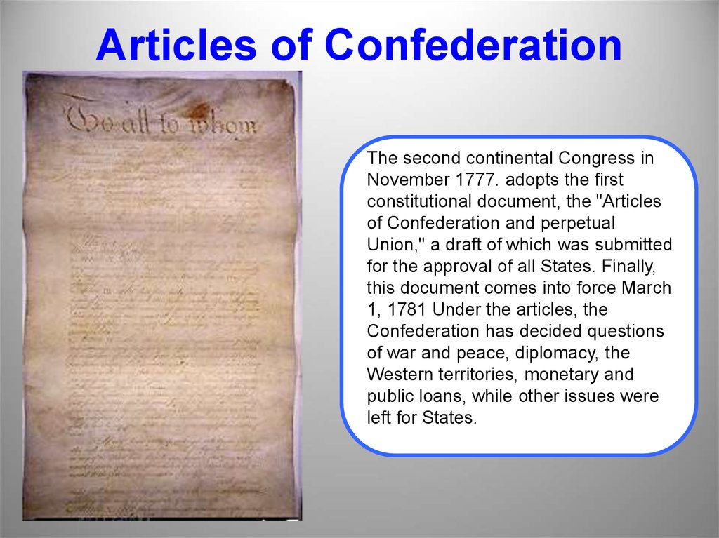 an analysis of the articles of confederation in the united states congress The articles of confederation were the first constitution of the united states the articles of confederation reflected the new nation's fear of centralized power and authority under the articles the states were more powerful than the central government, which consisted only of a congress.