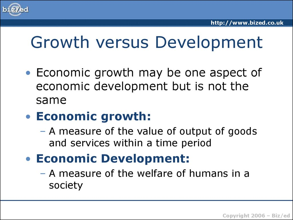 economic growth vs economic development essay A) economic growth is defined by increases in gdp b) whereas, economic development is more of a vague measure usually incorporating social measures such as literacy rates or life expectancy as a means of measuring a country 's level of development c) extensive growth, is.