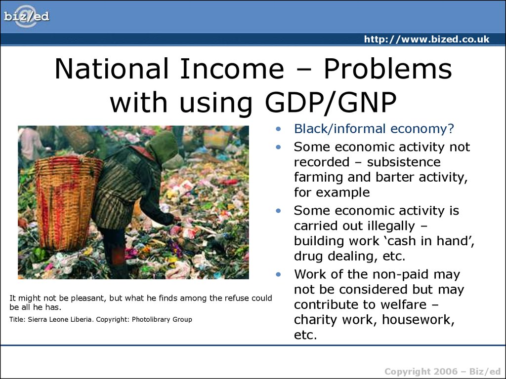 National Income – Problems with using GDP/GNP