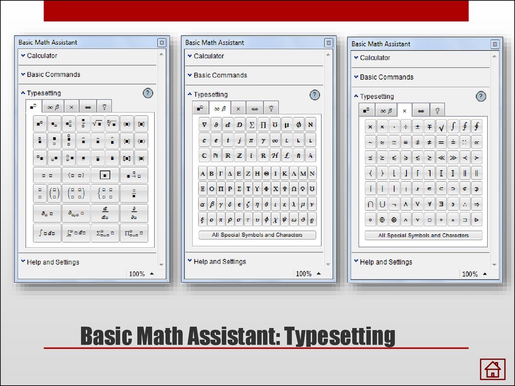 Basic Math Assistant: Typesetting