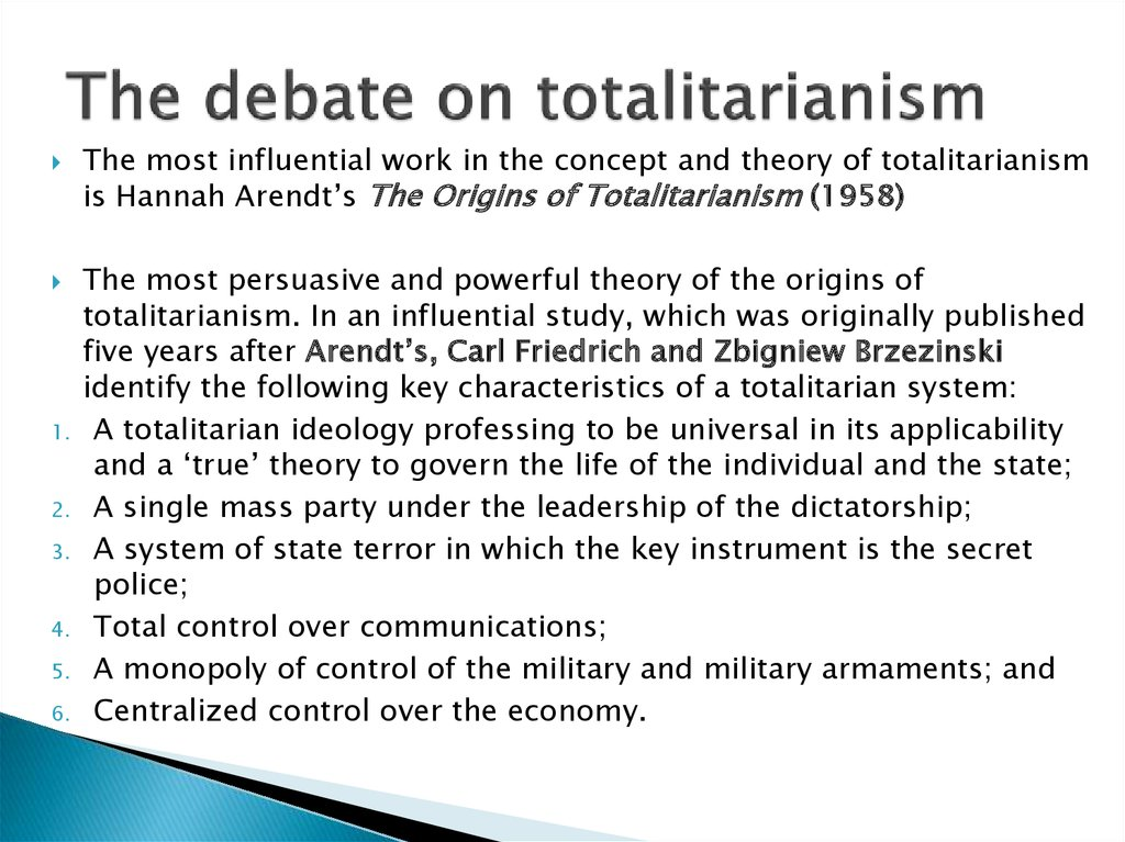 The debate on totalitarianism