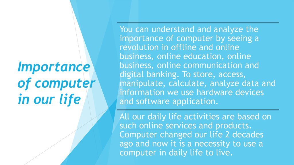 Importance of computer in our life