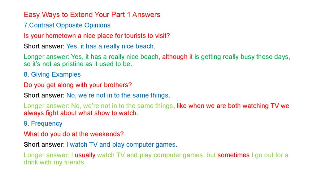 Easy Ways to Extend Your Part 1 Answers