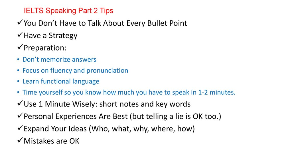 IELTS Speaking Part 2 Tips