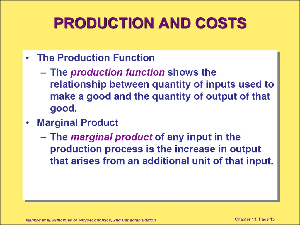 PRODUCTION AND COSTS