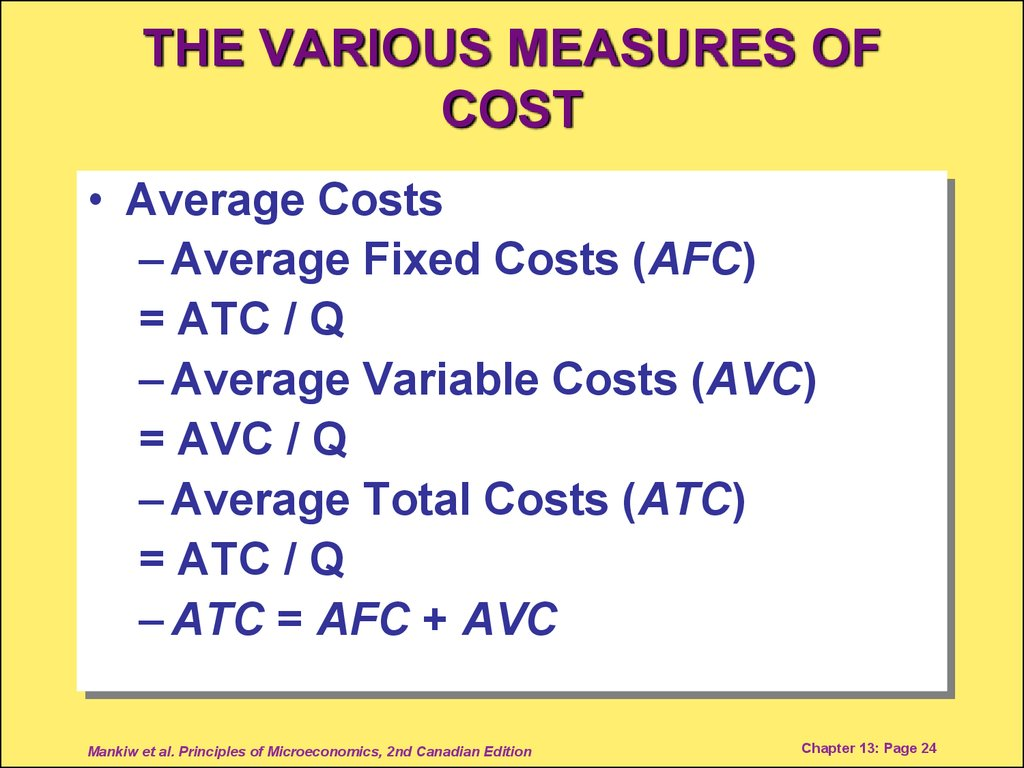 THE VARIOUS MEASURES OF COST