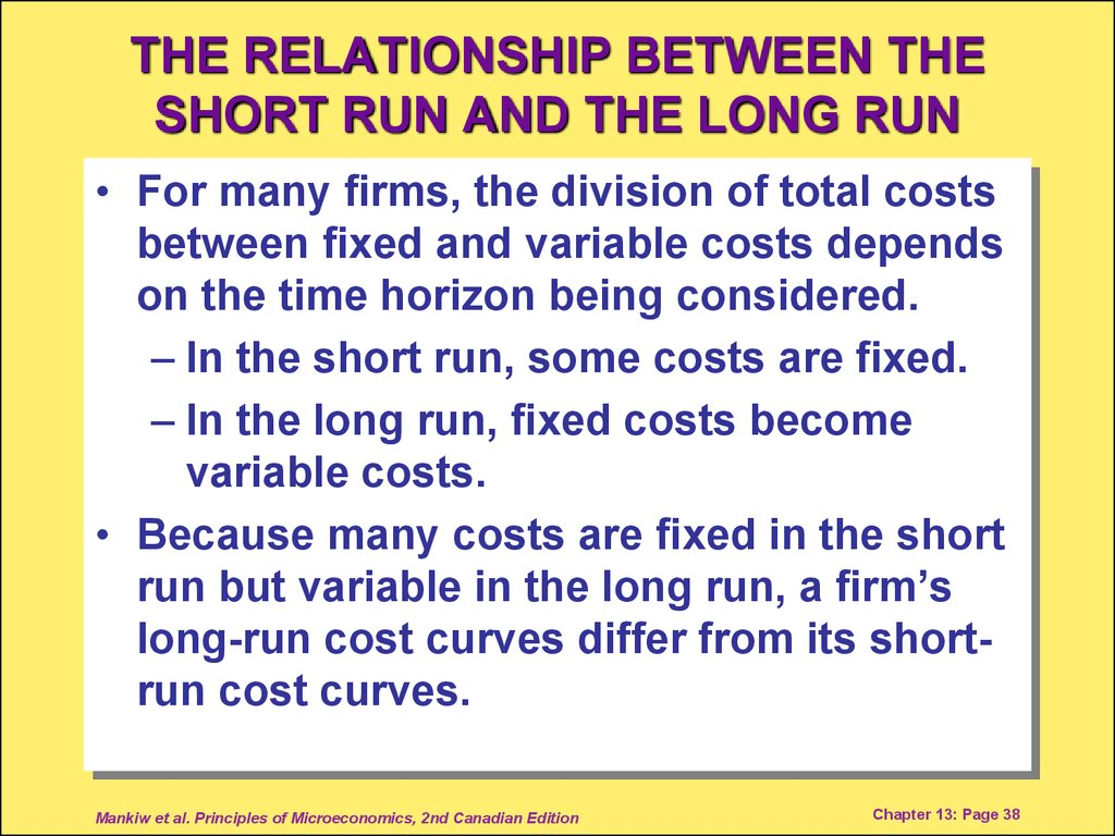THE RELATIONSHIP BETWEEN THE SHORT RUN AND THE LONG RUN