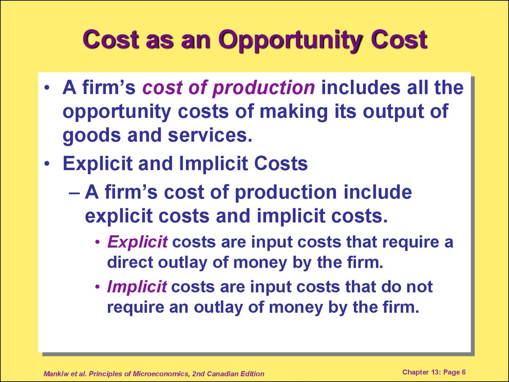 Cost as an Opportunity Cost