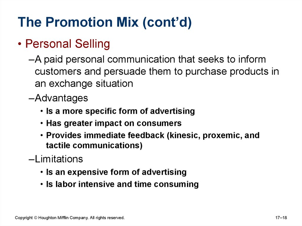 The Promotion Mix (cont'd)