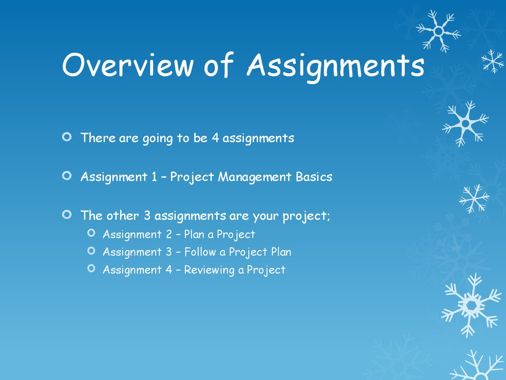 Overview of Assignments