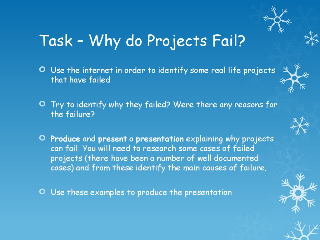 Task – Why do Projects Fail?