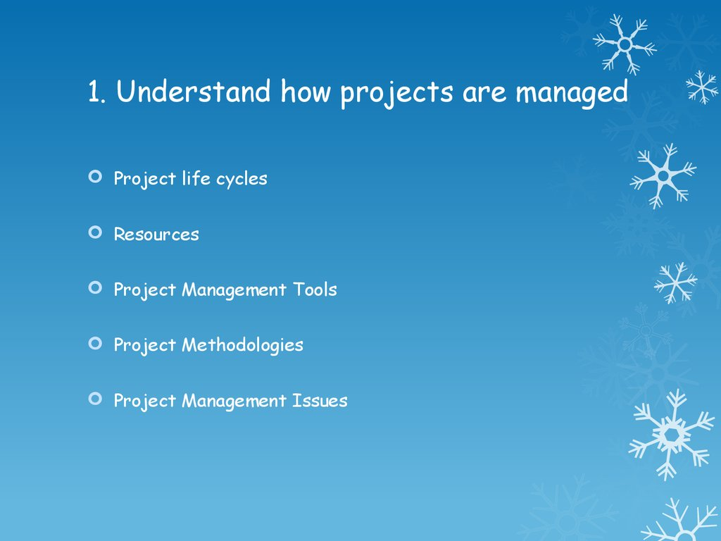 1. Understand how projects are managed