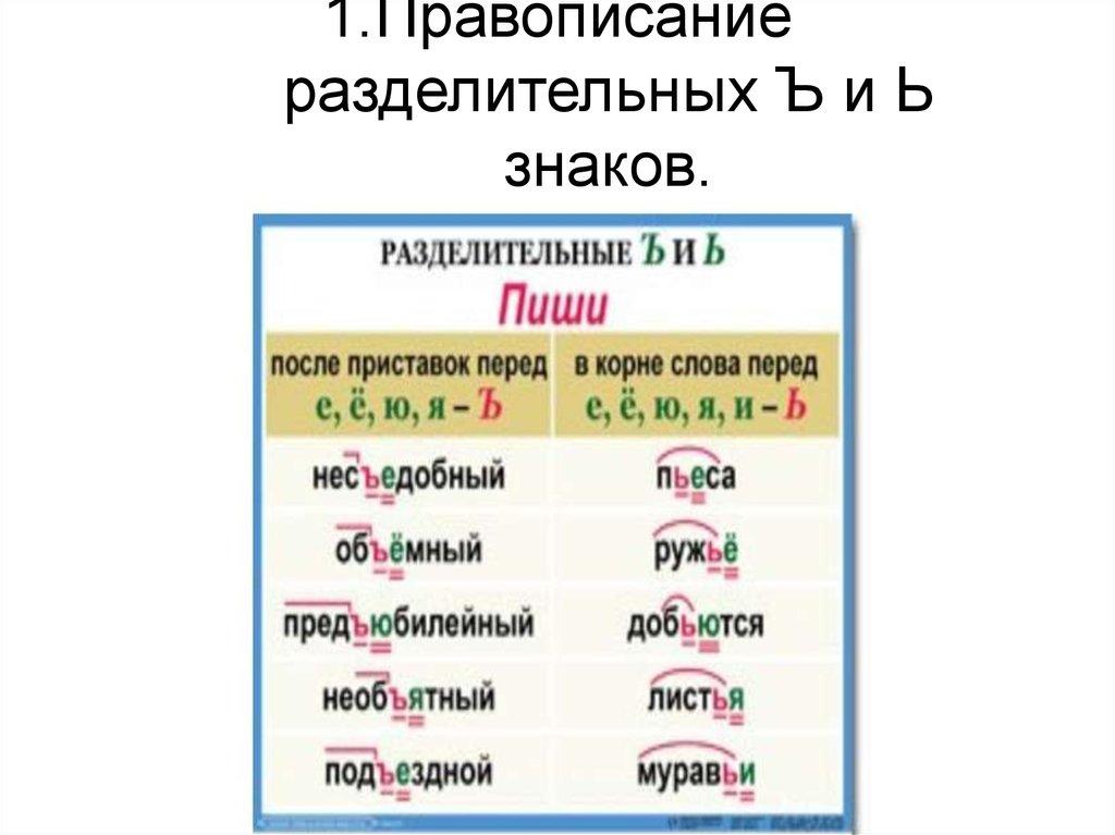 Задания с разделительным ъ знаком