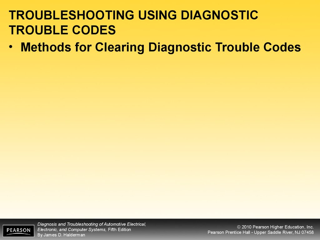 TROUBLESHOOTING USING DIAGNOSTIC TROUBLE CODES