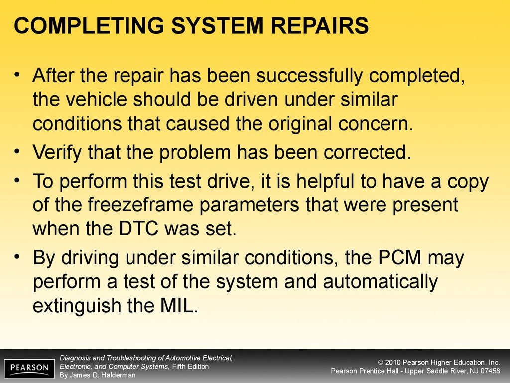 COMPLETING SYSTEM REPAIRS