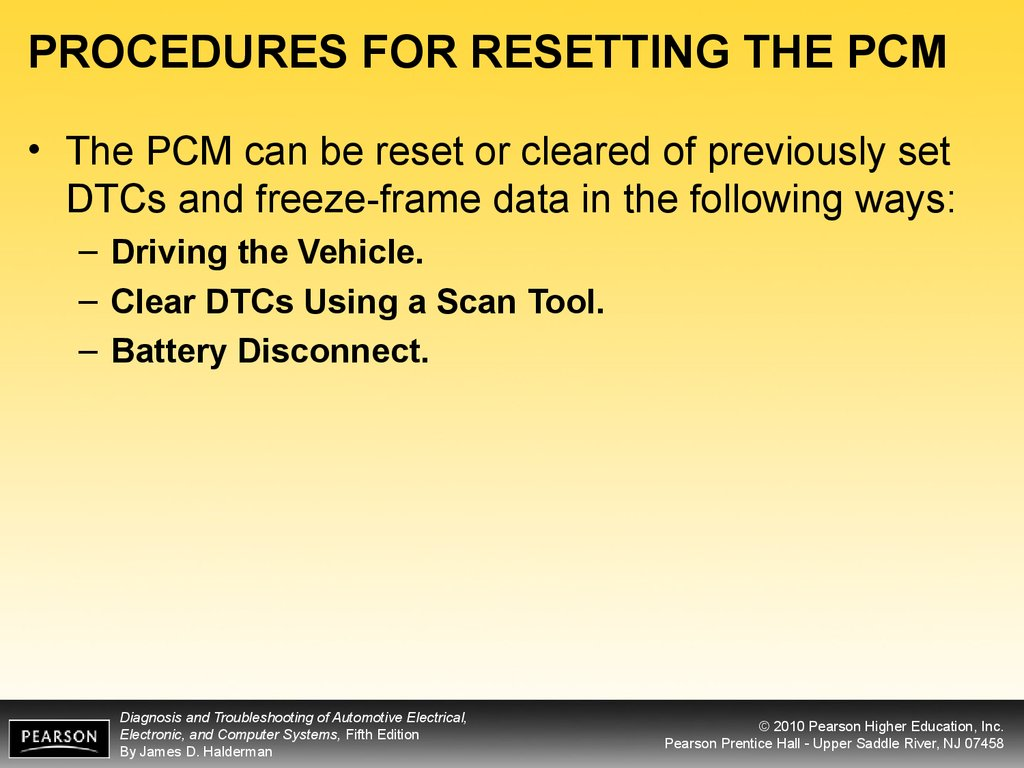 PROCEDURES FOR RESETTING THE PCM