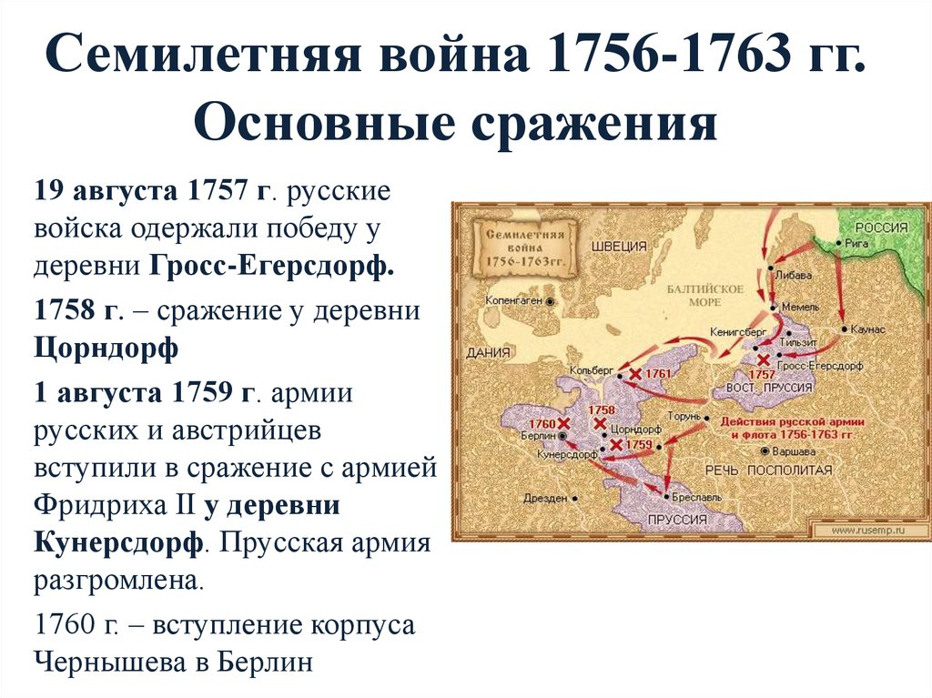 Какие события относятся к: семилетной войне 1756-1763