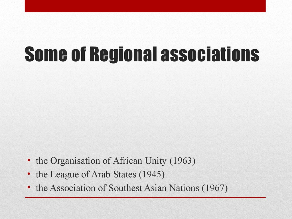 Some of Regional associations