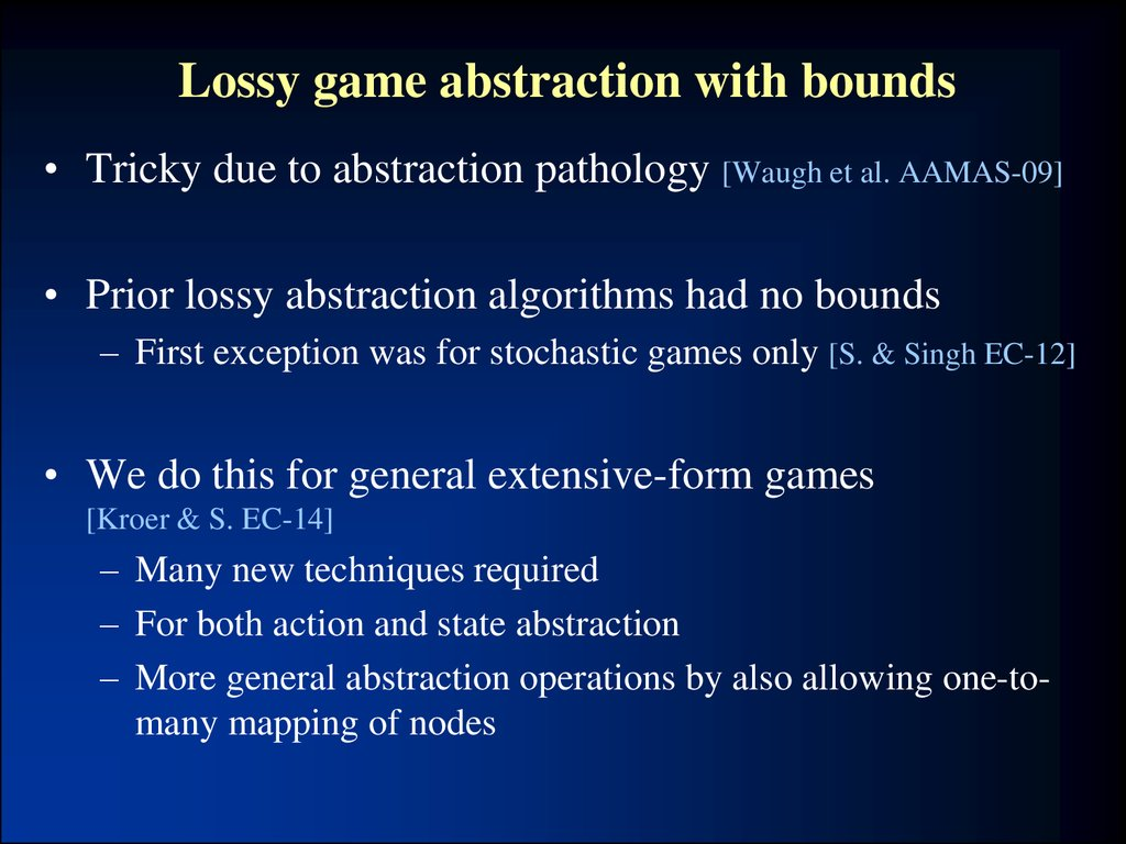 Lossy game abstraction with bounds