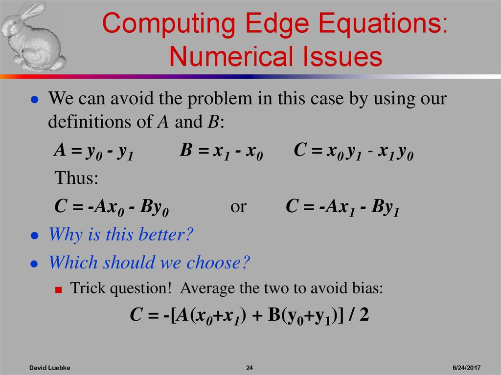 Computing Edge Equations: Numerical Issues