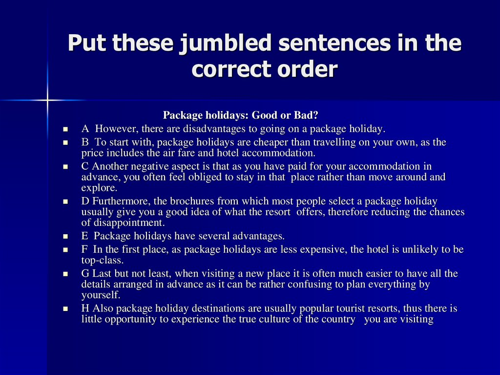 Put these jumbled sentences in the correct order