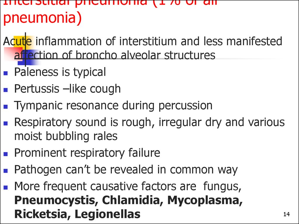 Interstitial pneumonia (1% of all pneumonia)