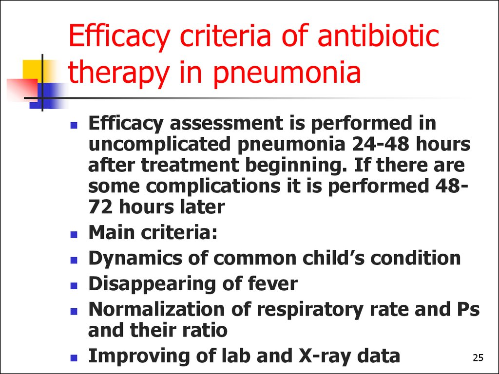 Efficacy criteria of antibiotic therapy in pneumonia