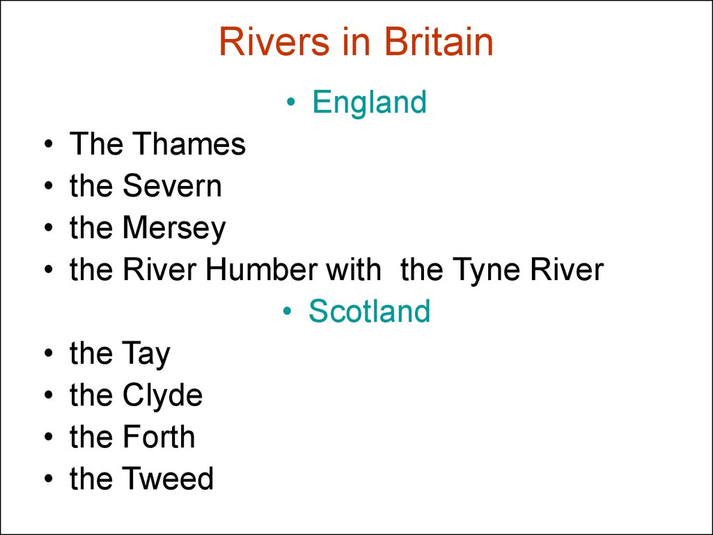 Rivers in Britain