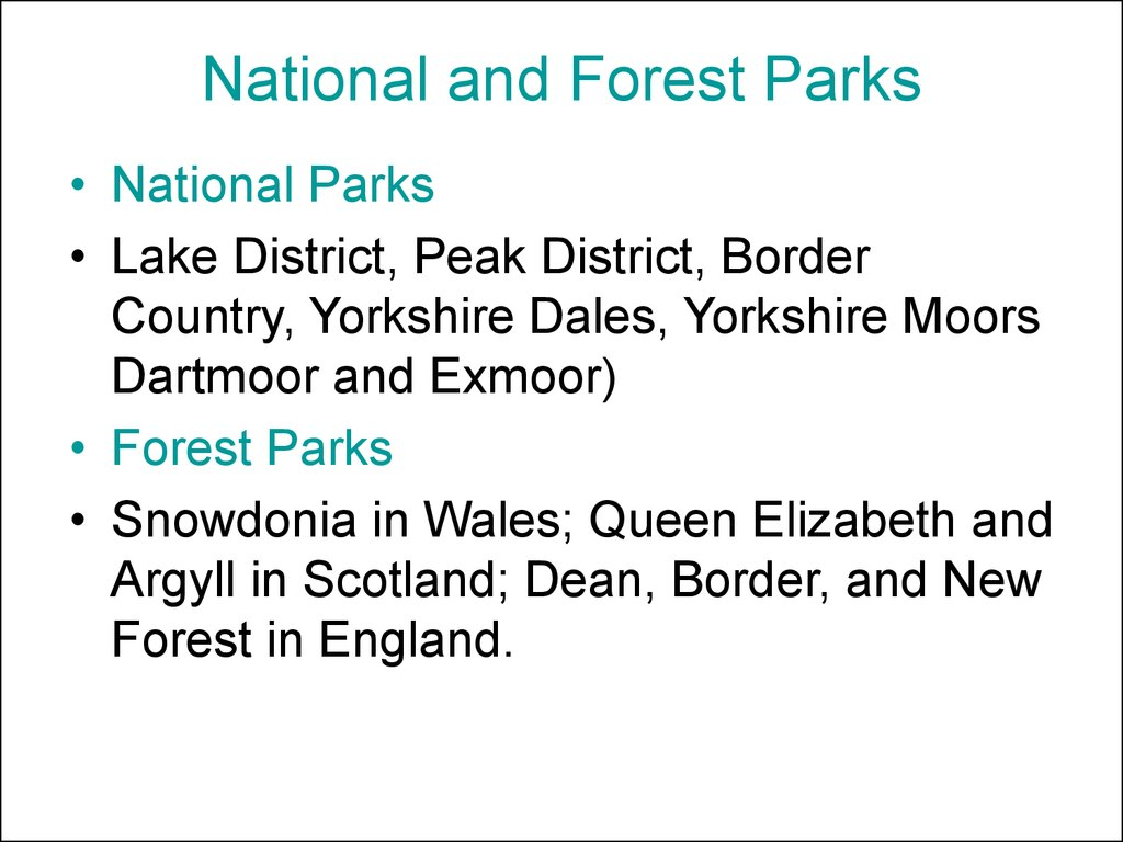 National and Forest Parks