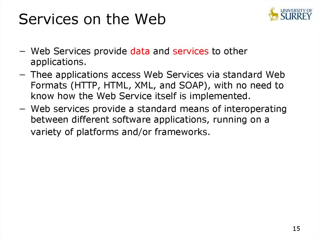 Services on the Web