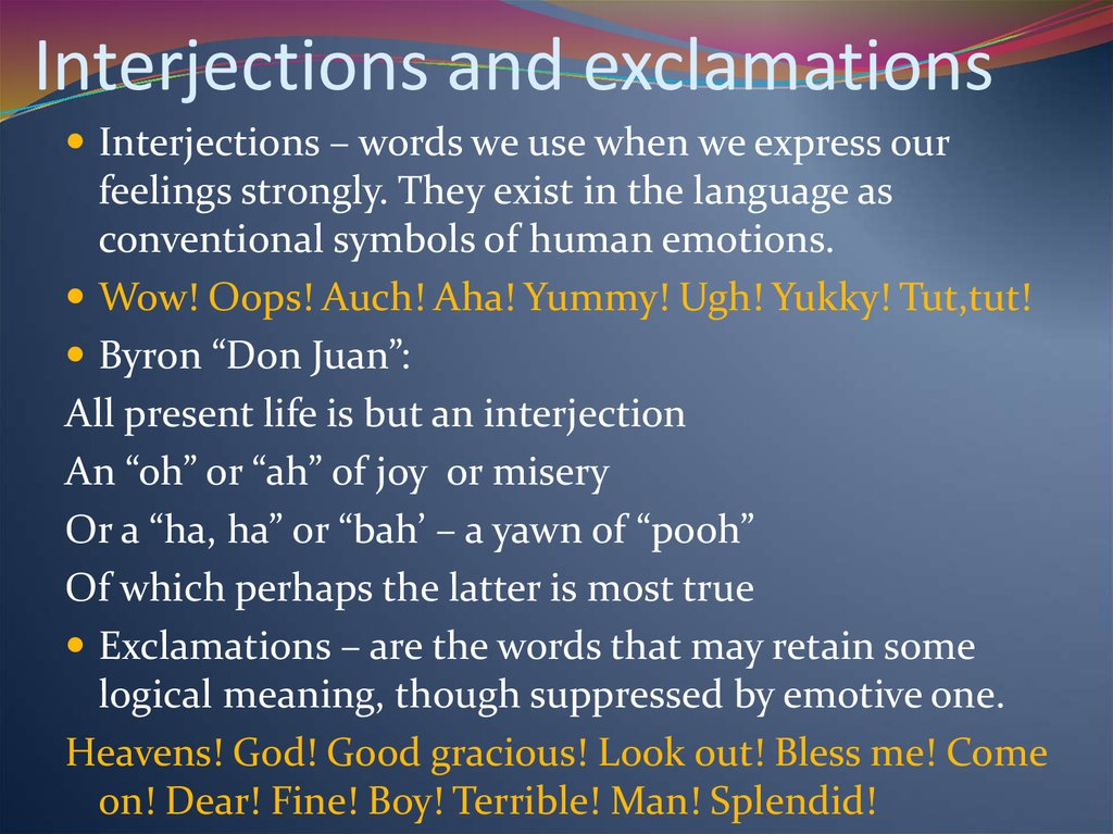 Interjections and exclamations