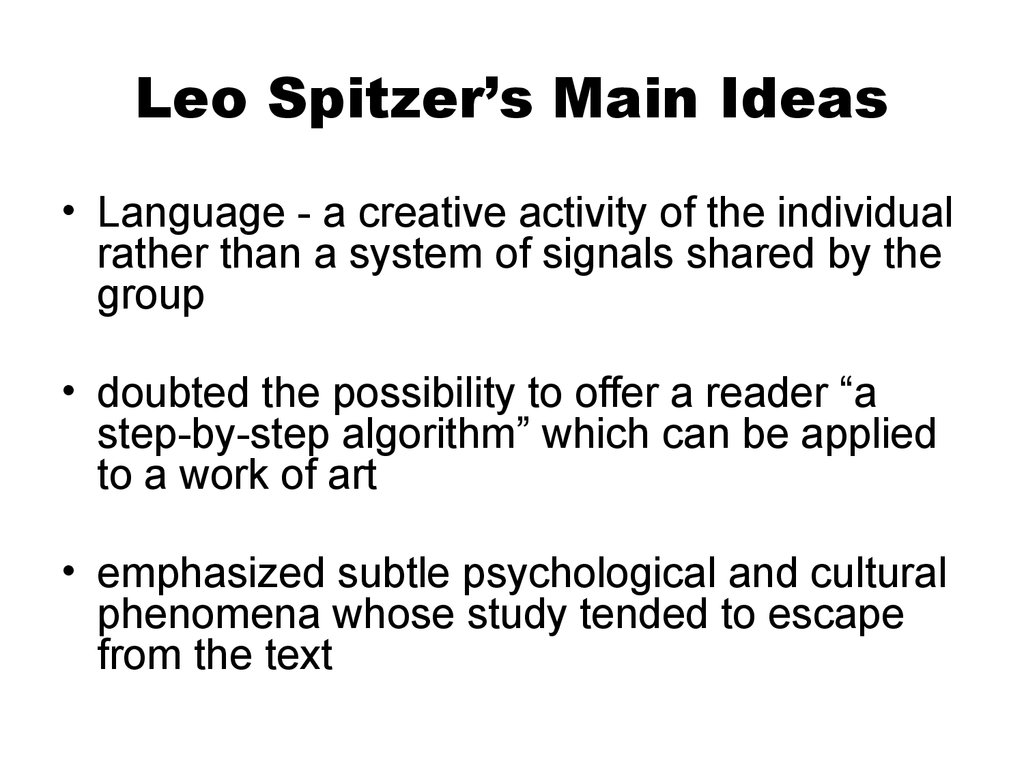 Leo Spitzer's Main Ideas
