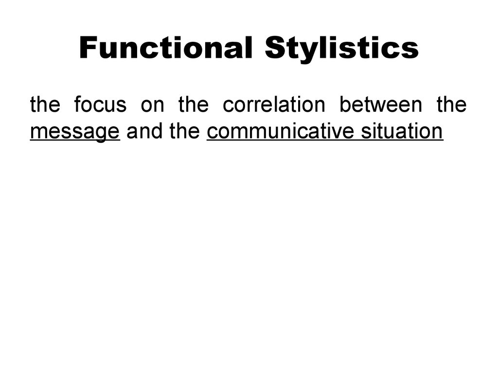 Functional Stylistics