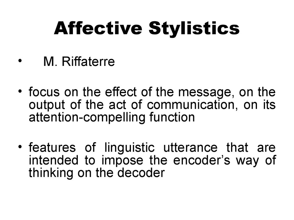 Affective Stylistics
