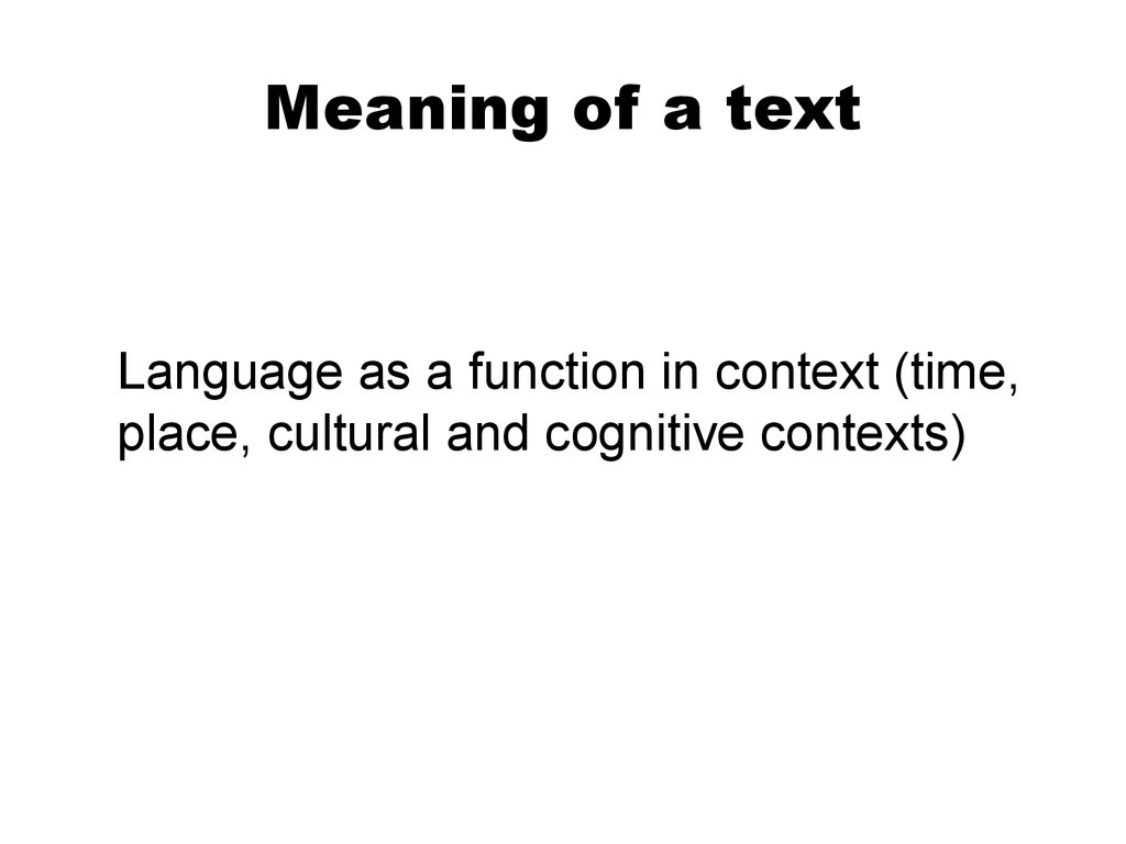 Meaning of a text