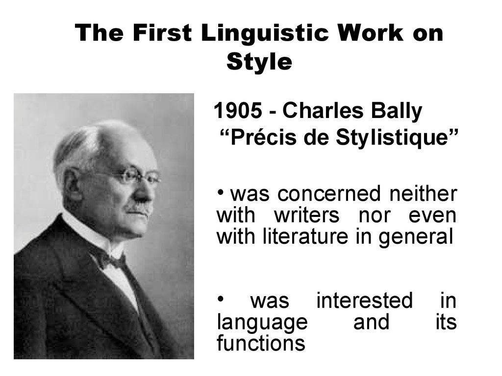 The First Linguistic Work on Style