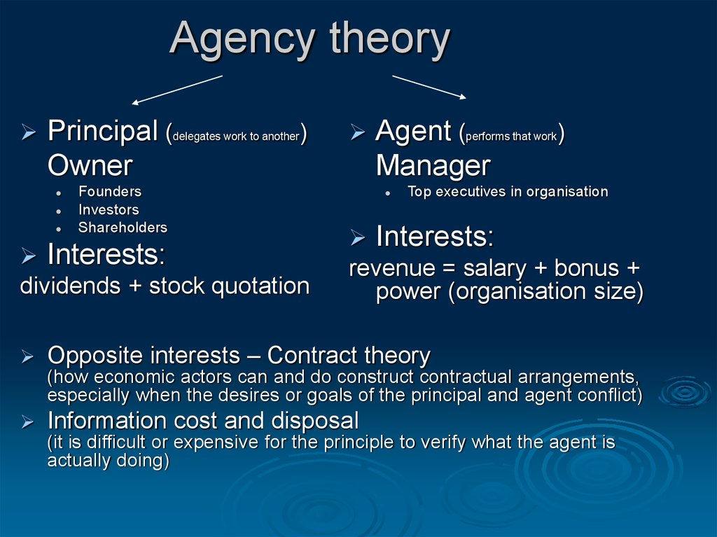 agency theory essay 3 In agency theory terms, the owners are principals and the managers are agents and there is an agency loss which is the extent to which returns to the residual claimants, the owners, fall below what they would be if the principals, the owners, exercised direct control of.