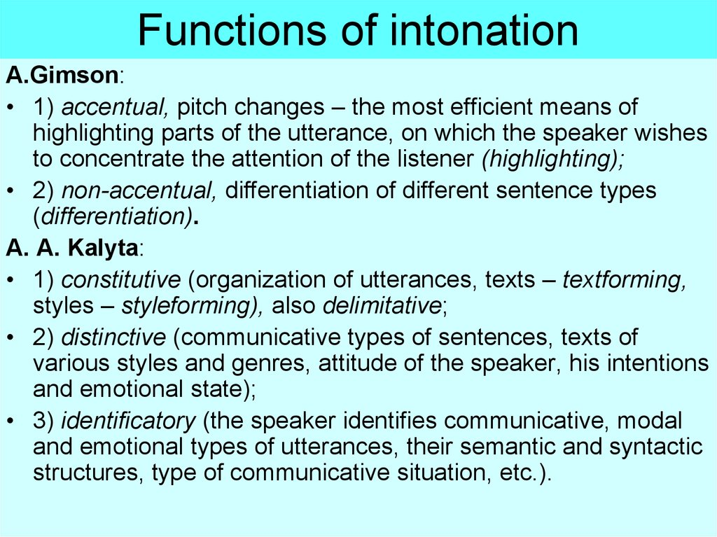 Functions of intonation