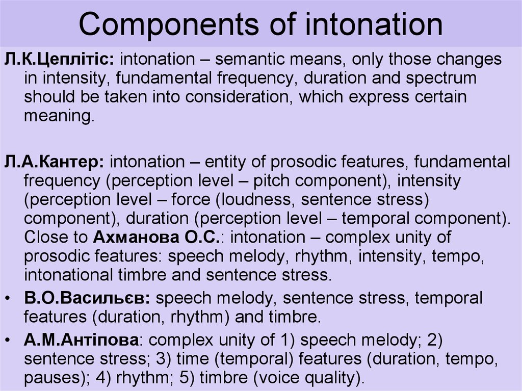Components of intonation