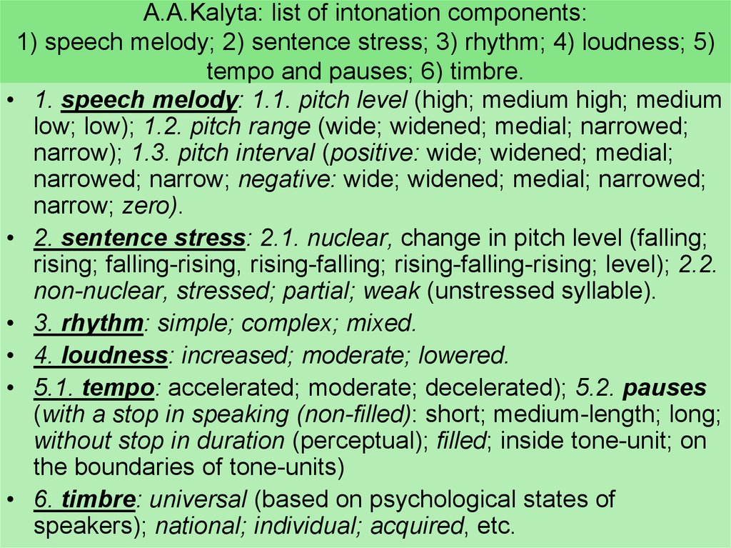 A.A.Kalyta: list of intonation components: 1) speech melody; 2) sentence stress; 3) rhythm; 4) loudness; 5) tempo and pauses; 6) timbre.