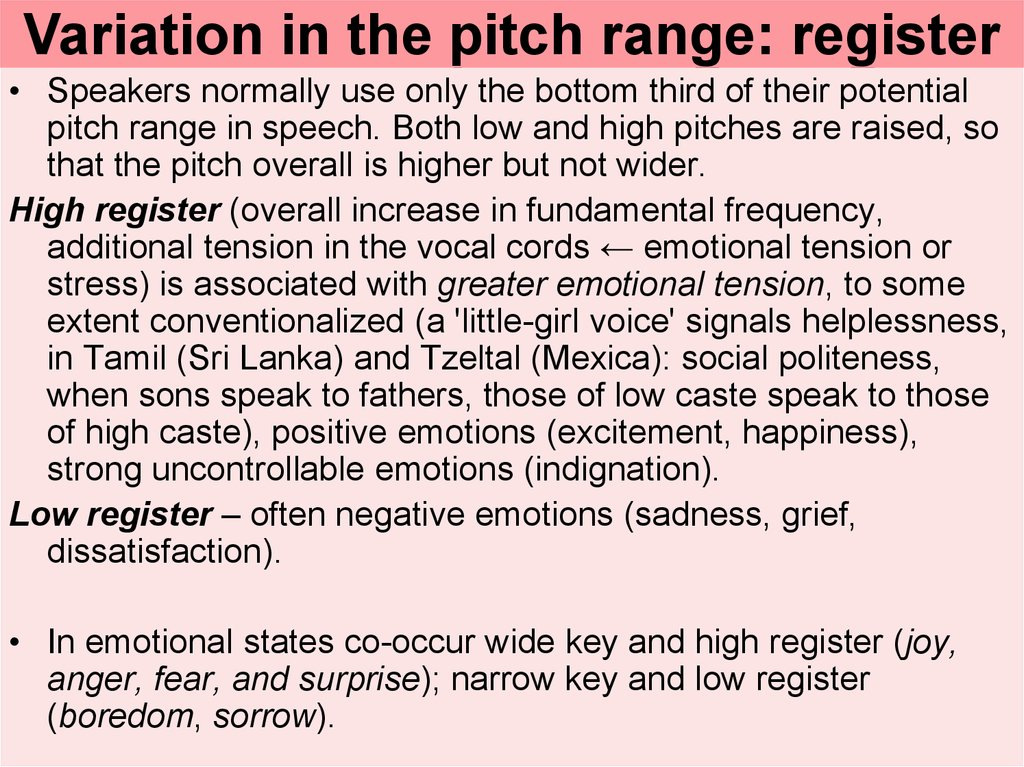 Variation in the pitch range: register
