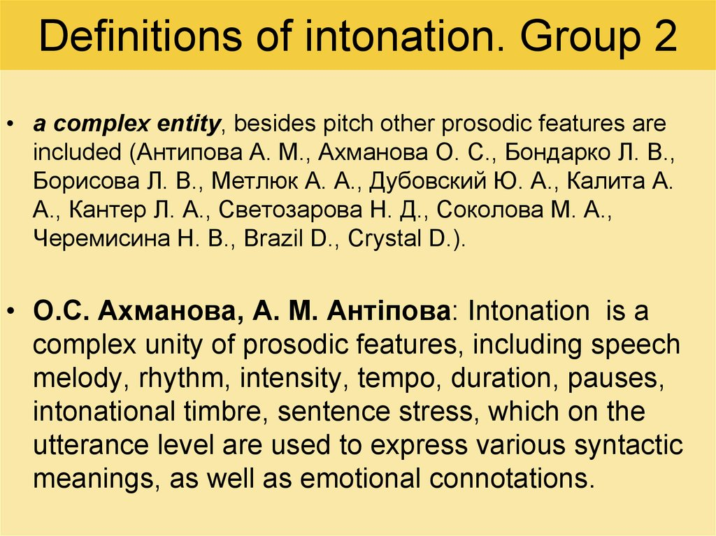 Definitions of intonation. Group 2