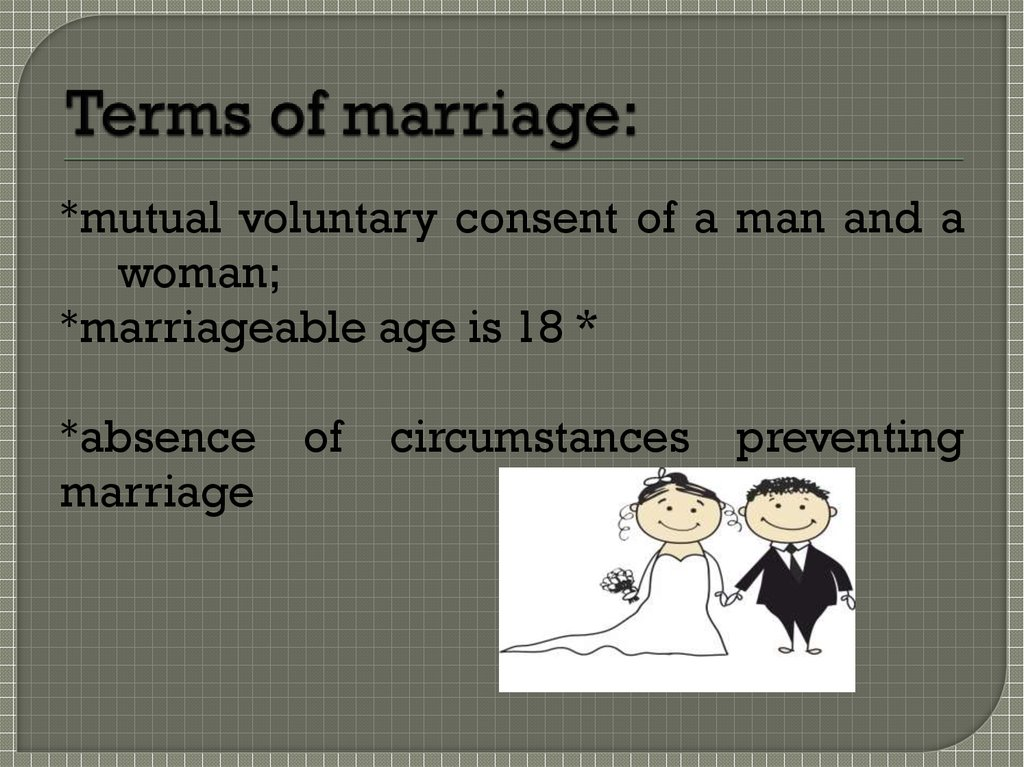 Terms of marriage: