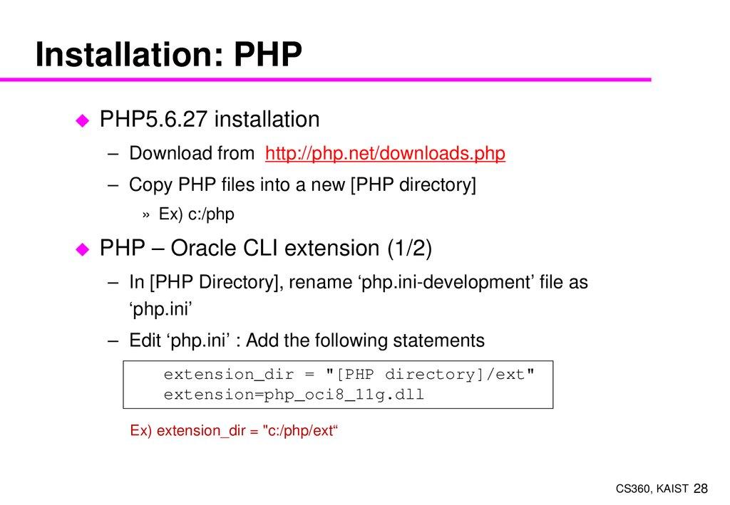 Web server with PHP - online presentation